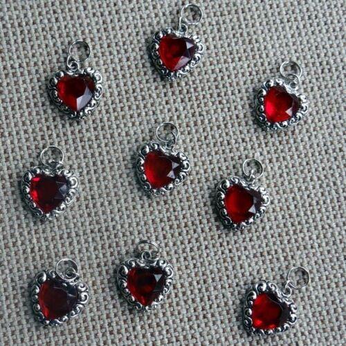 Red Heart Gem Metallic with Crystal Dog Collar Charm Bark Avenue Designs