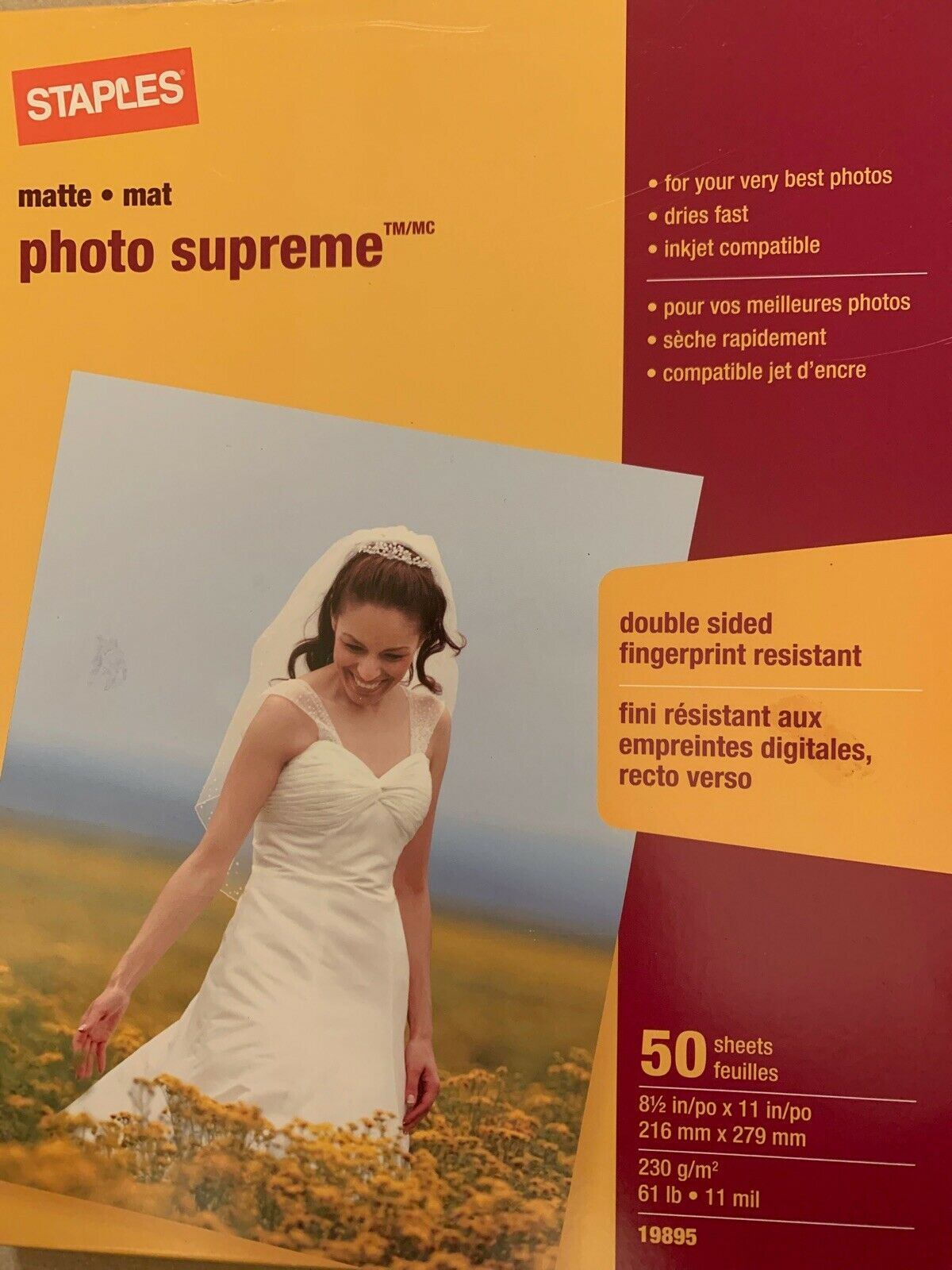 """Lot 2 Staples Photo Supreme Paper 8 1//2/"""" x 11/"""" 50//Pack Double Sided Matte"""