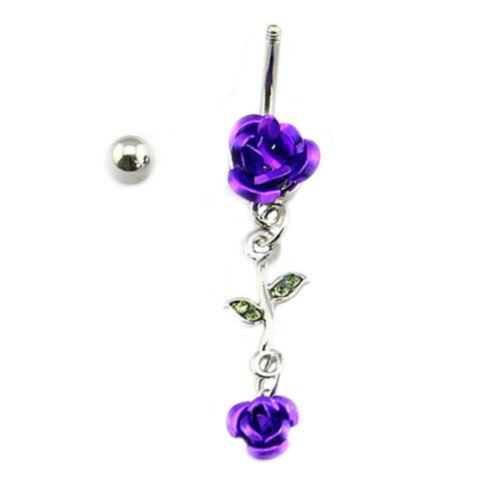 AD/_ Rose Flower Dangle Navel Belly Button Ring Bar Body Piercing Jewelry Gift Du