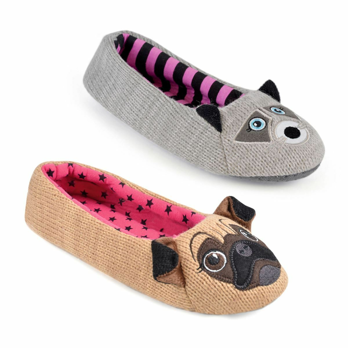 Womens/Ladies Footwear Knitted Ballet Slippers With Raccoon Or Pug Face Design