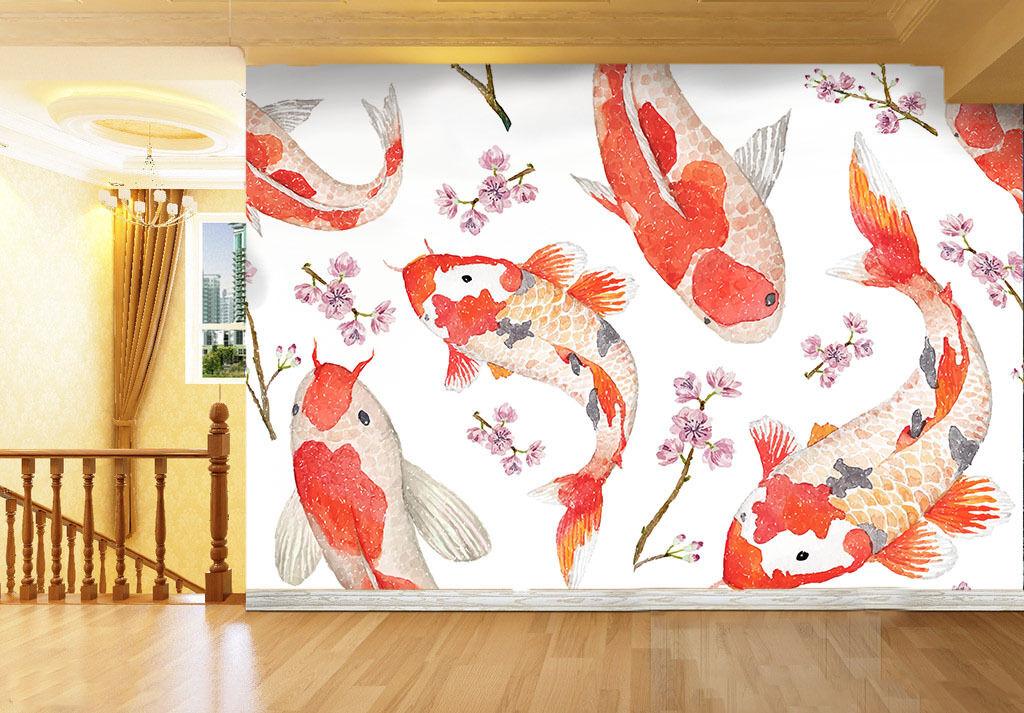 3D Große rote Goldfisch 11 Fototapeten Wandbild Fototapete BildTapete Familie DE