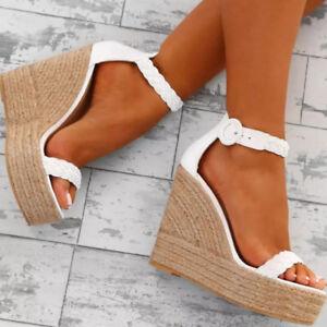 Womens-Buckle-Wedge-High-Heels-Platform-Slingback-Sandals-Club-Open-Toe-Shoes-Sz