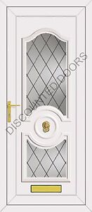 White Buckingham UPVC Front Door With Two Diamond Lead Glazed Panel, Frame & Let