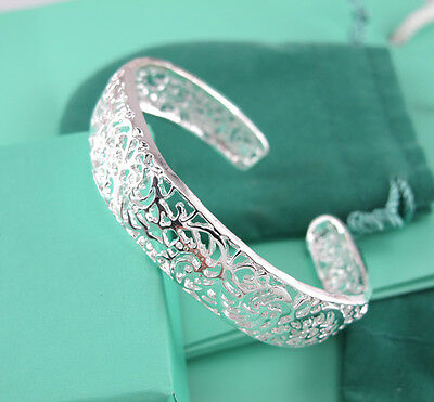 925 silver Hollow out tracery Thick Charm Cuff Bracelet bangle Retro Jewellery