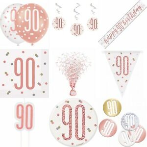 30th Birthday Rose Gold,Badge,Plates,Napkins,Candle,Hanging Swirls,Centrepiece