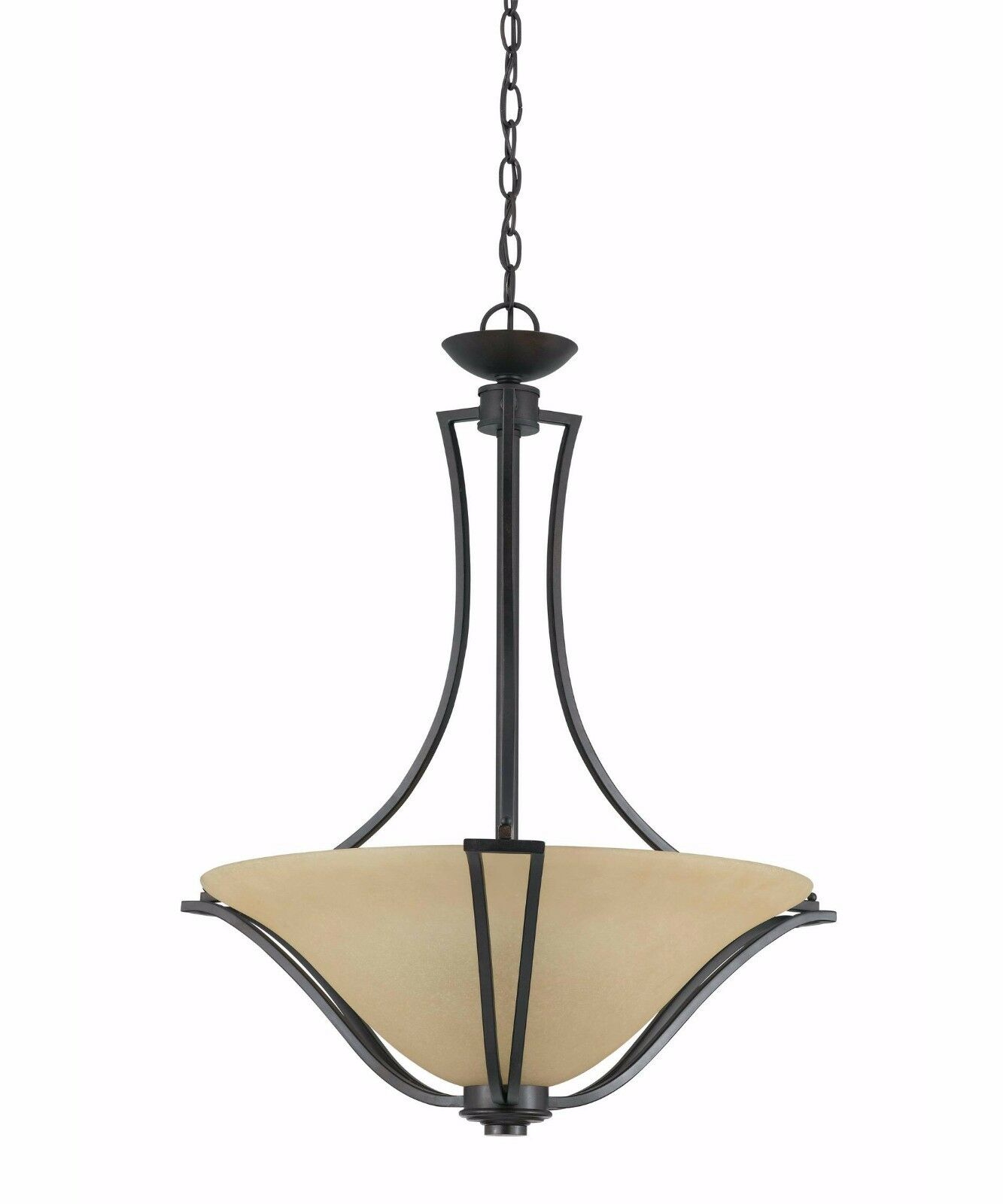 NEW TRIARCH 32782-24 GRECO 3-LIGHT LARGE PENDANT CHANDELIER 24  W 28  H