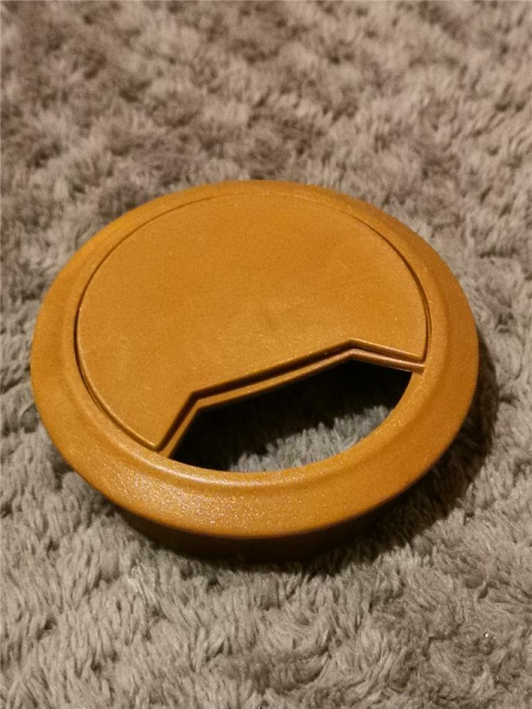 BROWN DESK GROMMET 60mm Table Cabinet Cupboard Cable Wire Tidy Office Organiser