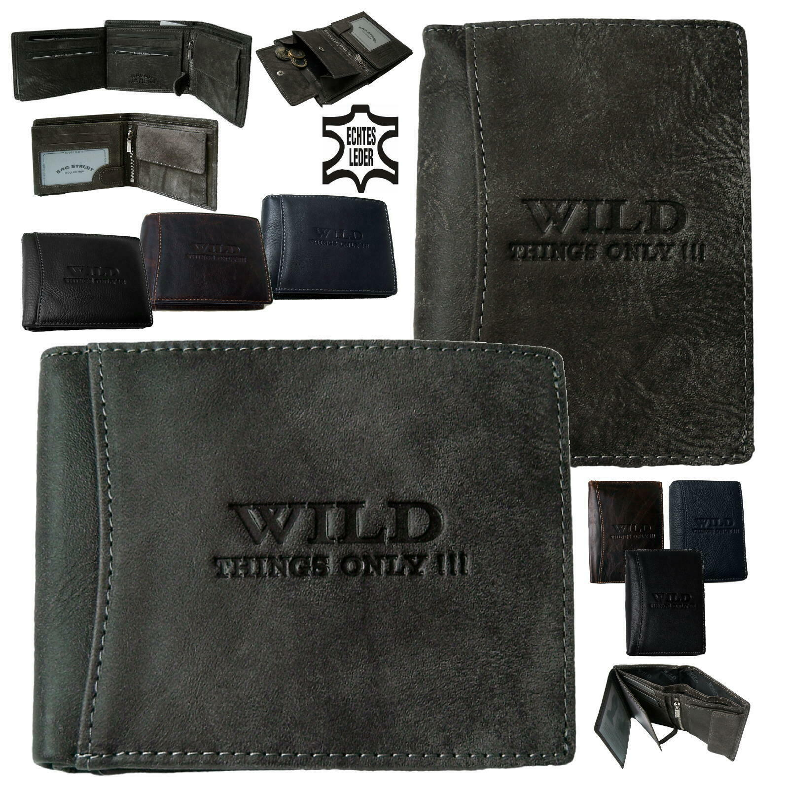 Men's Purse Rfid Leather Wild Things Only Wallet Purse Antique PV23
