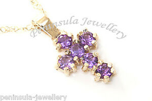 9ct-Gold-Amethyst-Cross-Pendant-Necklace-and-Chain-Gift-Boxed-Made-in-UK