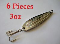 6 Pieces Casting 3oz Spoons Chrome/silver Fishing Lures -crocodile Spoon Style