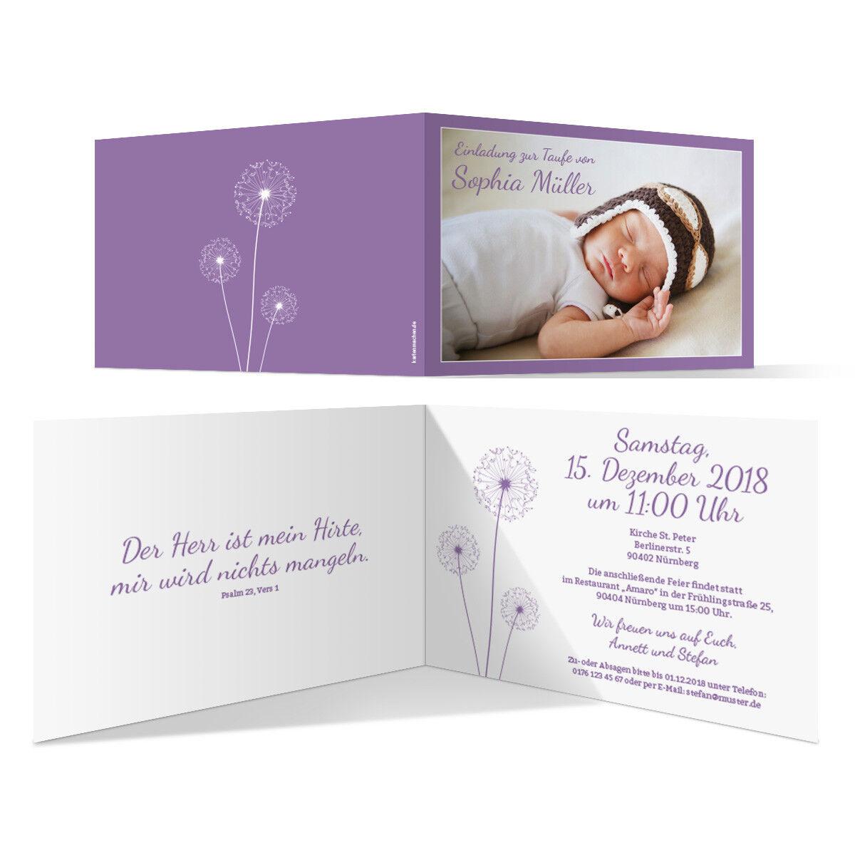 Taufkarten Taufeinladungen Einladungskarten Taufe Einladung - PusteBlaume in Lila   Zu einem erschwinglichen Preis    Vorzugspreis
