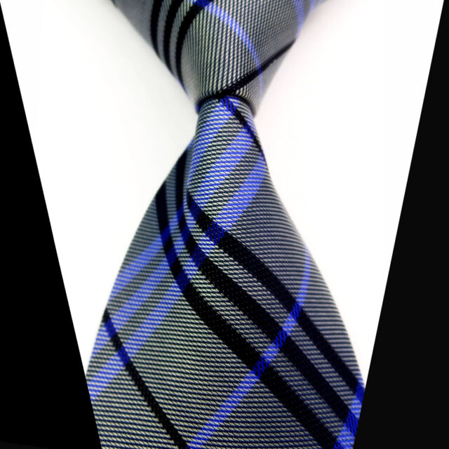 New Classic Gray Blue Black Check 100%Silk Jacquard Woven Necktie Men's Tie