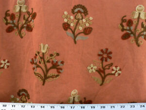 Details About Drapery Upholstery Fabric Crewel Embroidered Fl Cinnamon