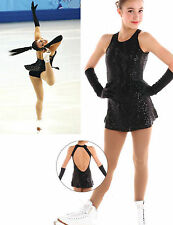 New Competition Skating Dress Elite Xpression BLACK Sequins CM 8-10