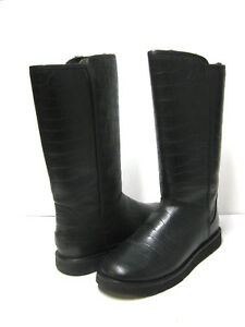 7cee74eeb8a Details about UGG ABREE II CROC WOMEN TALL BOOTS LEATHER BLACK US 12 /UK  10.5 /EU 43