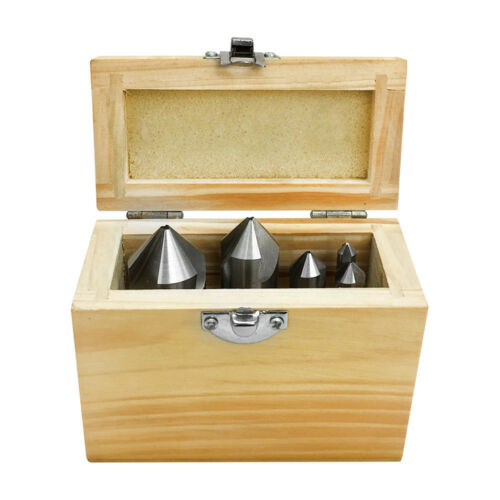 Set Of 5 Pieces High Speed Steel 3 Flute Countersink 82 Degree
