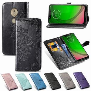 Pour-Motorola-Moto-G6-G7-P30-Mandala-cuir-Flip-Stand-Carte-Portefeuille-Case-Cover