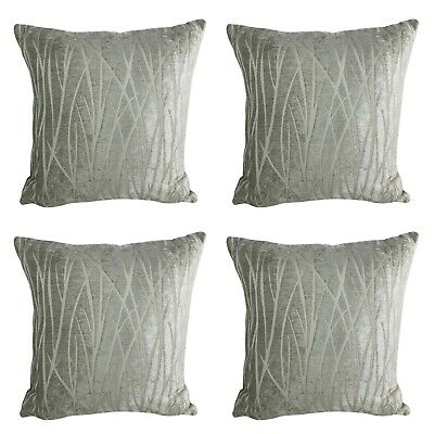 x4 Filled Cushions - Grey Chenille X-Thick Luxury Sofa Pillow 18x18\