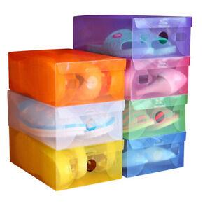 10-20-Pcs-Home-Shoe-Organizer-Plastic-Storage-Clear-Box-Stackable-Foldable