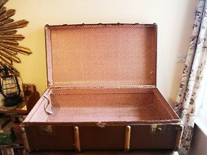 St C.c. Leather Storage Trunk K Very Old Vintage Industrial Steamer Army