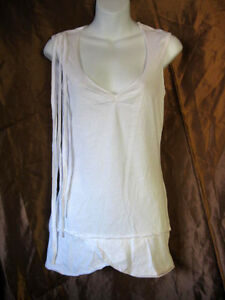 Lip-Service-White-Sample-Fringed-V-Neck-Tunic-Top-Mini-Dress-Unfinished-DYI-M