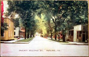 1914-Moline-Illinois-Postcard-Twenty-Second-Street-IL-Ill