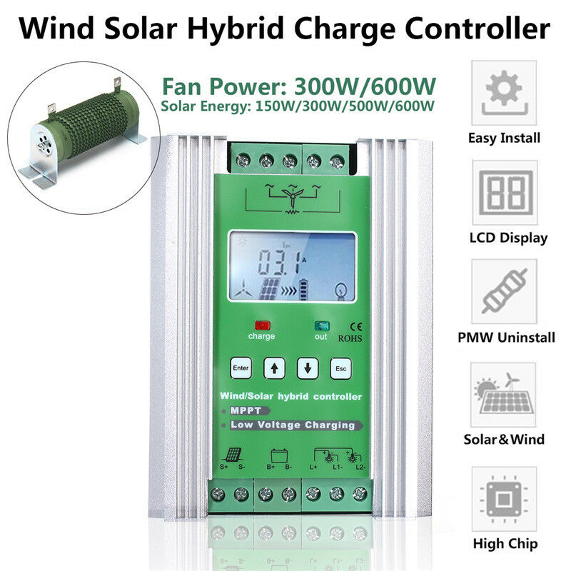 12V 24V Boost MPPT Wind Solar Hybrid Controller Auto With LCD Display Dump Load