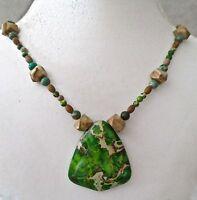 Green Sea Sediment Jasper & Wood Jasper Beaded Necklace A Beauty