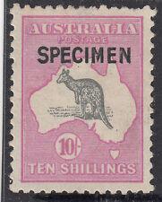 "Kangaroo 10/- stamp 3rd watermark SPECIMEN type ""B"" overprint MH, broken tail"