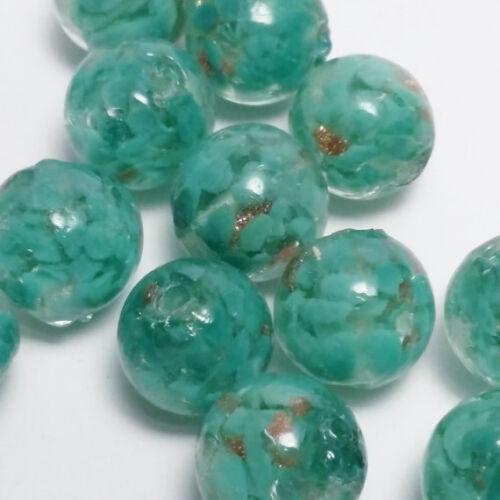 Verde y Oro Brillo Cuentas de Murano redonda 12mm B63604 fabricación de joyas 6 un