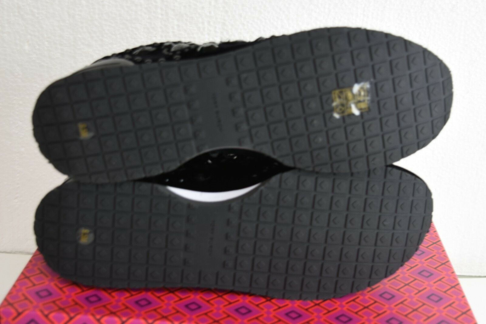 Neuf Tory Burch Scarlett Runner Velours Velours Velours Décoré Baskets Chaussures Noires 9.5 8 0f760a