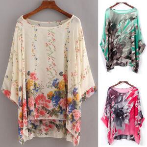4d5f5f9a93cdb Image is loading Plus-Tunic-Blouse-Ladies-Kimono-Loose-Waterfall-Chiffon-