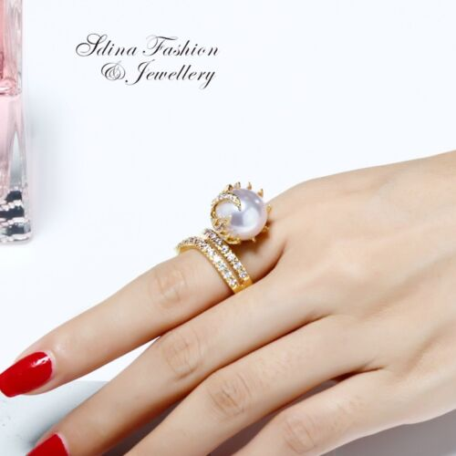 Thick 18K Yellow Gold GF Made With SWAROVSK Created Pearl Gorgeous Cocktail Ring