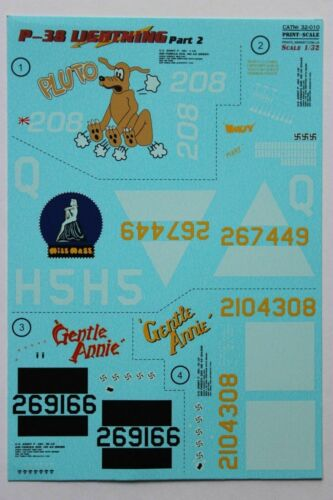 Print Scale 32-010 Decal for Airplane P-38 Lightning Part-2 Aircraft 1//32 scale