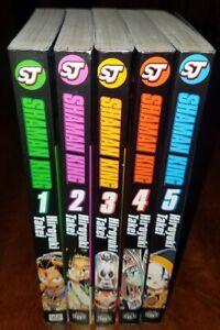 Shaman-king-manga-Vol-1-5-Shonen-Manga-Lot-English-Graphic-Novel