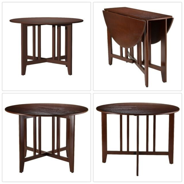 Drop Leaf Dining Table Walnut Round Solid Wood 42 Antique Kitchen Furniture Home Garden Furniture