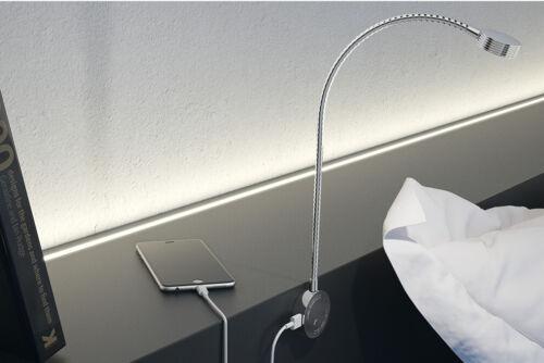 12v LED Flexible Reading Light 2 USB Charging Ports Study Bedroom Hotel Office