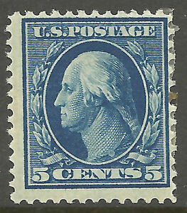 US-335-Mint-OG-HR-1908-Blue-5c-Perf-12-Double-Line-Watermarked-Ht