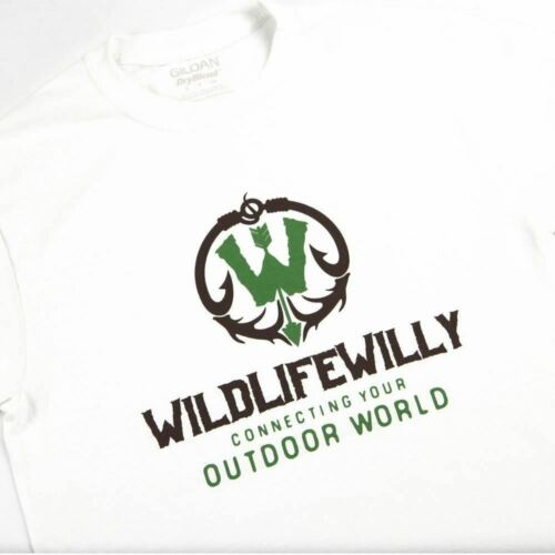 Details about  /NEW WILD Wildlife Willy Outdoor World T Shirt Graphic T  White Brown Logo LG