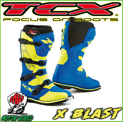 Affidabile Stivali Boots Moto Mx Cross Enduro Tcx X-blast Blue Yellow Fluo Blu Giallo 45