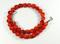 """Red Bamboo Coral Flat Round Coin Bead 18"""" Necklace"""