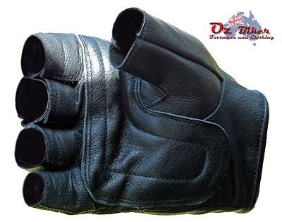 Fingerless Leather Gloves - Oz Biker - X-LARGE