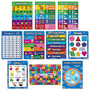 Details About Toddler Learning Poster Kit Set Ten Educational Wall Chart Preschool Kids Used