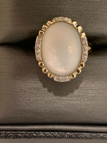 14k Oval  Diamond Halo And Mother Of Pearl Vintag