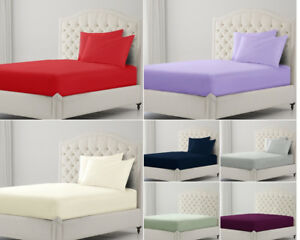 King-Size-Fitted-Sheet-30CM-Deep-Double-Single-Super-King-Egyptian-Cotton-Pillow