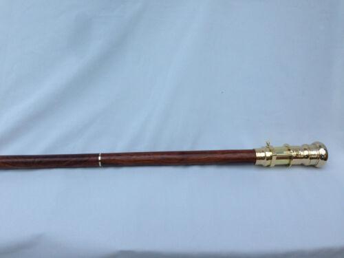 Gift Victorian Telescope Walking Stick Brass Cane Wooden  Nautical Marine
