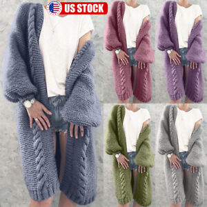 Womens-Long-Sleeve-Knitted-Cardigan-Sweater-Warm-Thick-Open-Front-Outwear-Coat