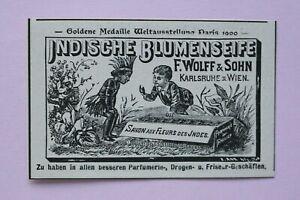 Werbung-Anzeige-1900-Wolff-amp-Sohn-Karlsruhe-Wien-Indische-Blumenseife-Holzschnit