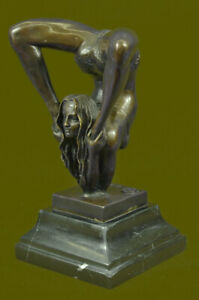 Signed-Original-Semi-Nude-Acrobat-Female-Agile-Flexible-Bronze-Sculpture-Gift