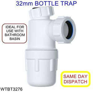 32mm EASI-FLO Bottle Trap with 75mm Seal WTBT3276 *IDEAL FOR BATHROOM BASIN*